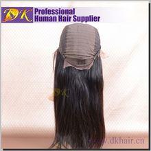 Guangzhou DK 2014 Cheap 100% brazilian human hair,full thin skin cap human hair lace wigs