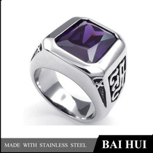 Mens Crystal Classic Gothic 316L Stainless Steel Ruby Ring