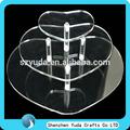 Bancada acrílico personalizado claro formato de coração 3 nível carrinho do bolo de casamento barato alta qualidade