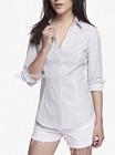 Long sleeve dotted stripe fashion princess cutting blouse design
