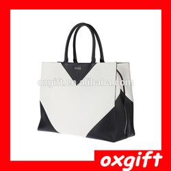 OXGIFT New arrival shoulder bags classic black and white block colour bat phantom women leather handbags