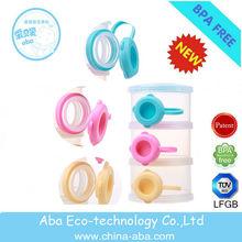 Plastic Baby Milk Powder Container with 3-layer / wholesale milk powder storage box for travel