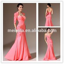 Elegant Beading With Jacket Long Length Sweetheart Mermaid Floor Length Evening Dresses 2014