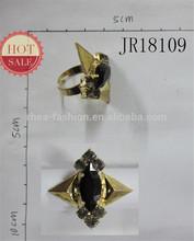 2014 Fashion Black Acrylic Stone Antiqu Gold Color Adjustable Alloy Ring