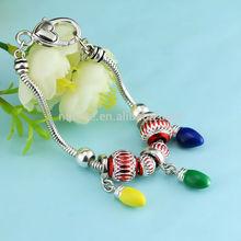 colorful Charm Snake Chain red Glass Bead Bracelets / Colorful European Charm Bracelet Cz Silver Glass Beads Bracelet
