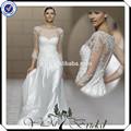 cordón tt0219 manga larga vestido de la boda de cristal de la boda vestido con piedra