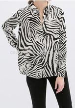 Z52467A Western style high fashion white and black striped blouse , fashion autumn blouses