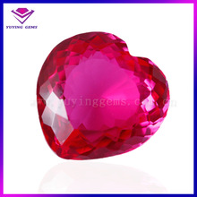 fashion heart shape good polishing 5# red synthetic ruby stone