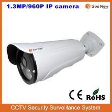 SunView New model 1.3 Megapixel IR bullet 960P IP camera outdoor zoom