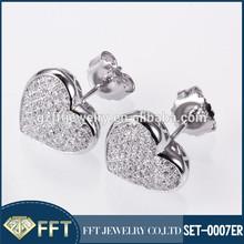 Peach Hearts silver 925 earring