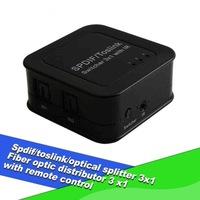 Passive Spdif/toslink/fiber optical splitter 3x1 Spdif toslink switcher 3 x1 with ir remote control