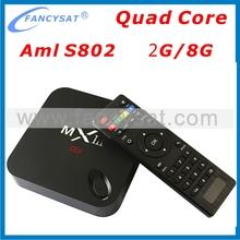 Amlogic S802 Quad Core TV Box MXIII Android TV Box MXIII TV BOX 2G RAM 8G ROM H.265 HEVC