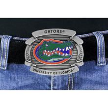"Lead & Nickel Free University Of Florida ""Gators"" Logo Silver Tone Belt Buckle"