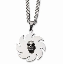 Stainless steel Skull Pendant custom made shiny polished