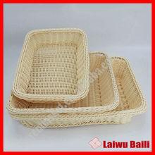 Wholesale plastic rattan wicker bread basket