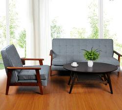 Japanese-style small apartment IKEA 123-bit minimalist sofa chair combination cafe wood sofa AMT11