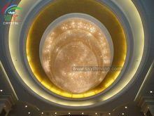 oval crystal ceiling lamp for hotel lobby