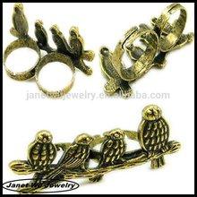 2014 hot wholesale design finger ring zinc alloy vintage animal birds double finger ring