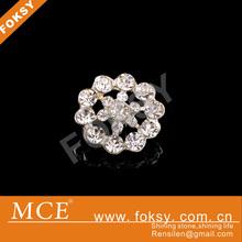 Flower shape rhinestone button with golden coat copper designer button for dress