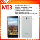 5.5 inch mobile phone quad core 1GB ram dual sim android 4.4 mobile phone MI3