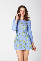 2014 Fashion Sexy Women Long Sleeve Printed Career Dress Evening Cocktail Party Club Dress
