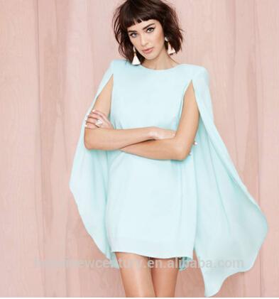 أزياء نسائية جديدة أناقة فستان 2014 شالات حزمة الورك منصات الكتف الأكمام الخفافيش عباءة تتوافق