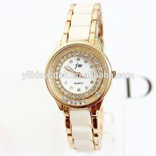 Women Rhinestone Watch 2014 Ladies Quartz Watches rose gold bracelet wristwatch Analog Ceramic watches