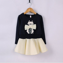 TAW1019 children fall dress long sleeve cat printed stitching woven cotton printed dress for girls