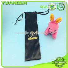 custom cheap printed black brazilian hair silk satin bag