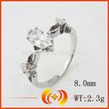 espumante de design de jóias de prata 925 grande cristal branco anel de casamento