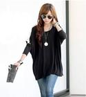 2014 Autumn & winter trendy casual women batwing sleeve black desigual loose top long sleeve t shirt women free size
