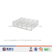 High clear 12 compartment hot sale without lid acrylic compartment storage box