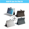 2014 Fashion Classical Grid Pattern Notebook Slim 10'' PU Leather Smart Stand Case For iPad Air U1702-13