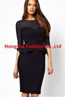2014 new bodycon dress Women Elegant Classic Fashion Cut out half sleeve mesh panel with Peplum