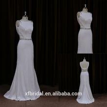 Cheap crystal beaded fashion simple but elegant real sample of satin wedding dress