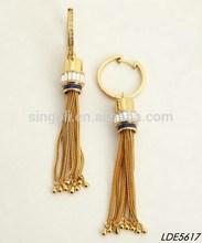 gold hoop earrings transpaarent crystal stud metal tassel hoop earrings
