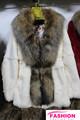 Winterspiele 2014 modische rex kaninchen-pelz Mantel/rex kanin kleidung mit waschbär pelzkragen