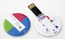 Manufactory Wholesale Round Shape Card USB Pen Drives Full Color Printing