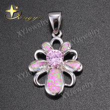 Fashion pink opal gold plated 925 silver jewelry pendants, wholesale flower shape jewelry pendants