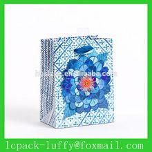 middle/large blue silks Indigo flower paper shopping gift bag for Europe