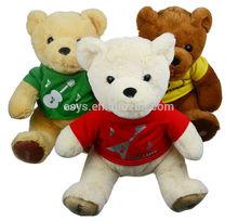 Plush animal cute teddy bear with silk screen logo clothes