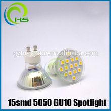 RA80 gu10 smd led spot light 15SMD 5050 glass LED SPOT 12/21/24/27 15smd 5050 gu10 led spot.led strip rgb 5050 waterproof