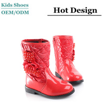 waterproof fabric pearl with butterfly decorate cute red girls shoe kids leather winter boots