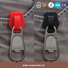 Guangzhou best selling red black zipper shaped plastic bottle opener