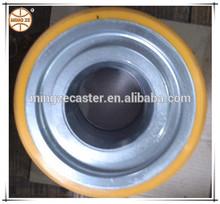 3 ton heavy duty PU caster wheel,taper bearing wheel,solid steel core wheel
