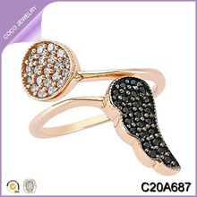 Rose Gold Plated Wings and Circle Ring Diamond