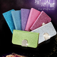 luxury bling shining diamond flip leather wallet case cover for iphone 4 4s