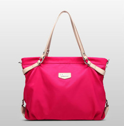 Promotional Brand Waterproof Nylon Tote Bag,nylon shopping tote bag with leather handle