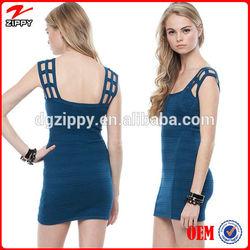 Scoop neckline wide -caged shoulder straps knit bandage dress/Sexy raised stripe party dress