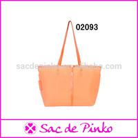 Elegant orange design young lady summer leather handbag